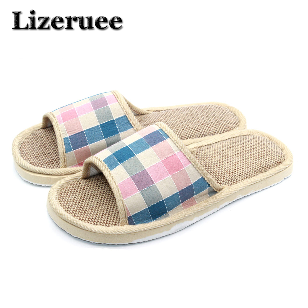 купить 2017 Natural Flax Home Slippers Indoor Floor Shoes Silent Sweat Slippers For Summer Women Sandals Slippers HS3021 по цене 274.71 рублей