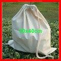 (100 pçs/lote) QULIATY tamanho 30x40 cm logotipo personalizado saco de cordão de algodão grande