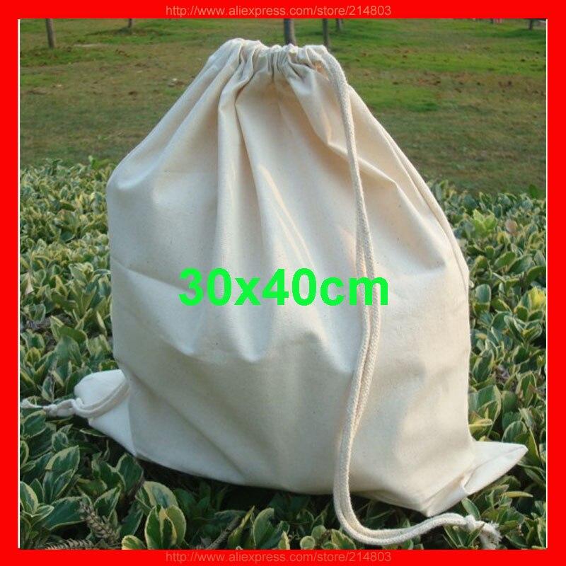 ae5f0d13add (100 unids lote) quliaty tamaño 30x40 cm personalizado bolsa de algodón con  cordón