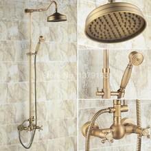 Luxury Bathroom Rain Shower Faucet Set Antique Brass Handheld Shower Head Two Cross Handles Bath Mixer Tap ars137