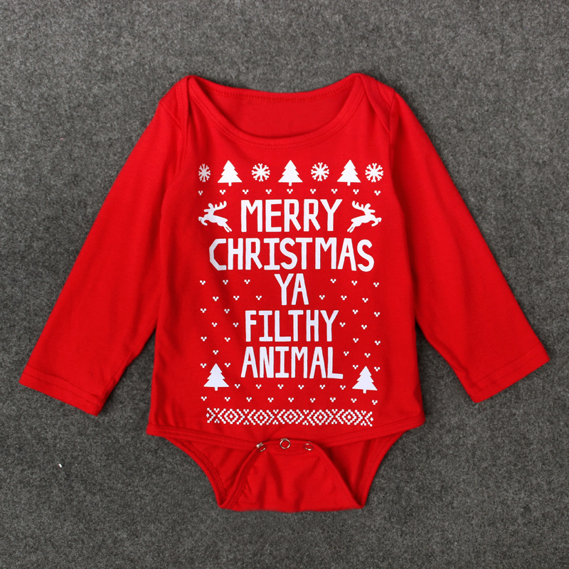 f3978bd83403 Newborn baby clothes Letter Print Long Sleeve christmas romper toddler  romper girls boy Jumpsuit baby onesie costume Clothes-in Rompers from  Mother   Kids ...