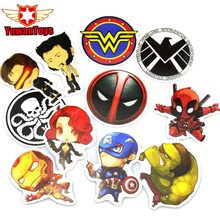 12Pcs Hot Super Hero Stickers For Kids Laptop Car Decal Fridge Skateboard Deadpool Superman Hulk Iron
