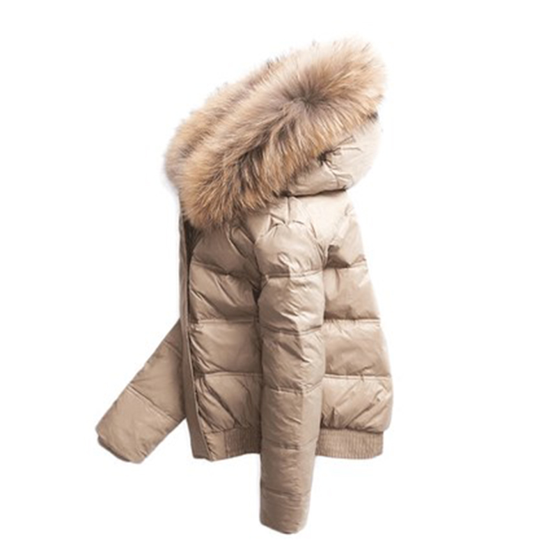 Women's Winter Down Jacket Woman Hooded Short Korean Puffer Coat Women Real Fur Collar Down Jackets Abrigo Mujer YP2146