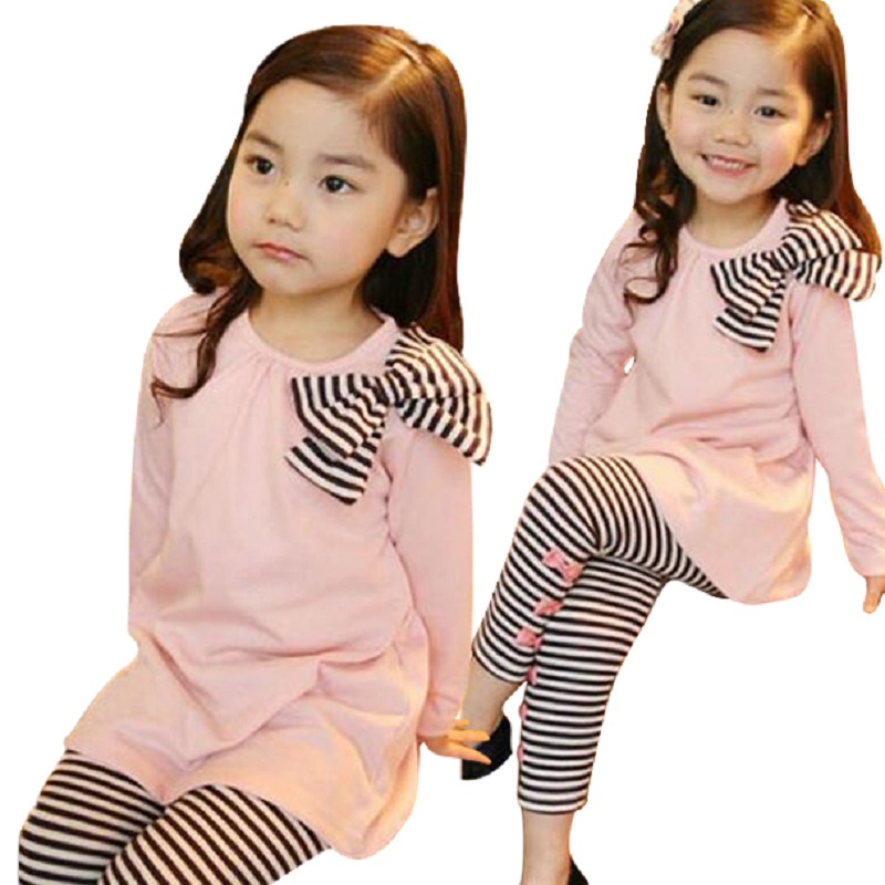 2018 New Girls Clothing Sets Fashion Style Girls Clothes bowknot Long-Sleeved T-Shirt + Striped Leggings Kids Clothing sets girls set 2018 new summer children clothing sets teens kids clothes lace short sleeved t shirt long skirts 2pcs sets cc717