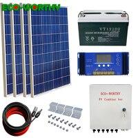 400W off Grid Solar Kit: 4pcs 100W 18V poly Solar power Panel & 100AH 12V Battery & Solar Combiner Box Solar Kit For Home charge