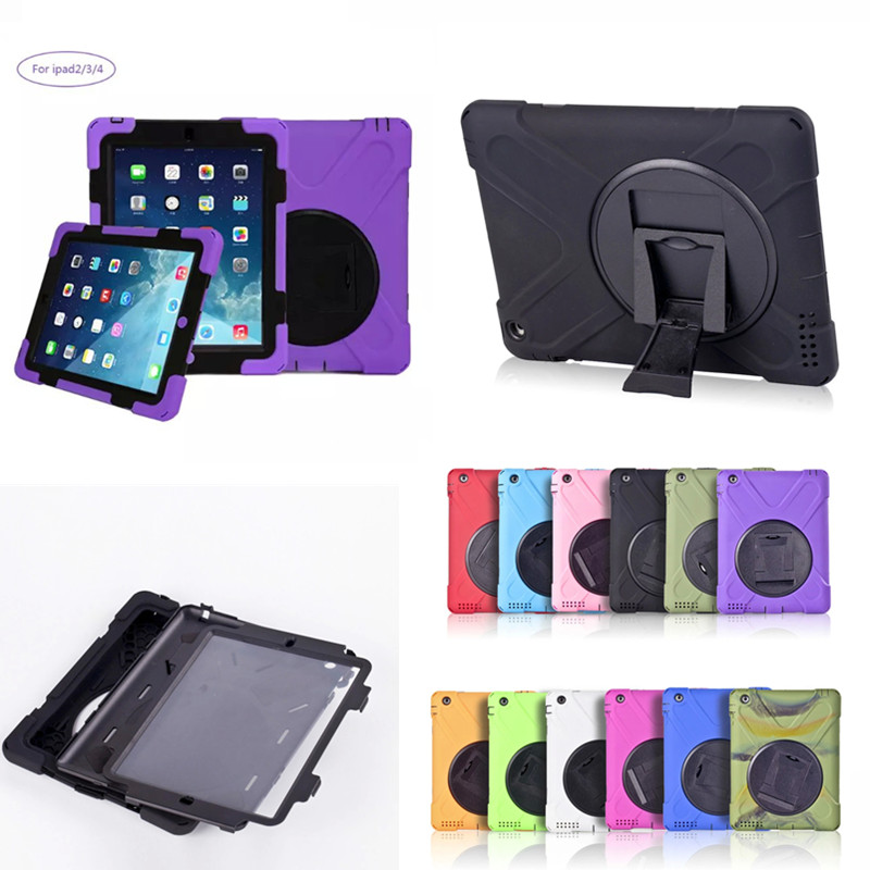 WES-HDW Shockproof Heavy Duty Case for ipad 3 Silicone Hard Case for ipad 4 Kickstand Cover for Apple iPad 2 3 4
