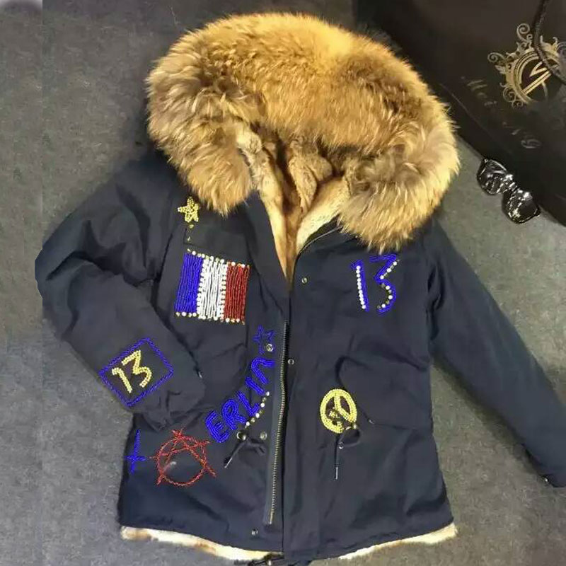 Dark Blue short jacket Fashion Flag of France Beading Natural color faux fur inside winter coat raccoon fur hooded