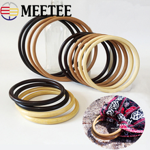 1pair=2pcs Meetee 12/13/15/19cm Bamboo Ring Handle Wood Round Bag Purse Frame DIY Handbag Replacement Accessories