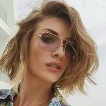New Square frame vintage sunglasses Women Oversized Big Size Sun Glasses for Men Female Shades Gold UV400 Eyewear