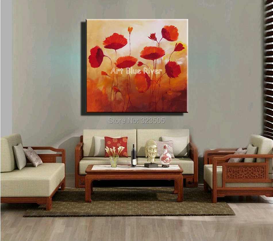 Red Poppy Flower Decorative Kitchen Abstract Handmade Wall Art Canvas Oil  Painting On Canvas Bedroom Living Room Decoration In Painting U0026 Calligraphy  From ...