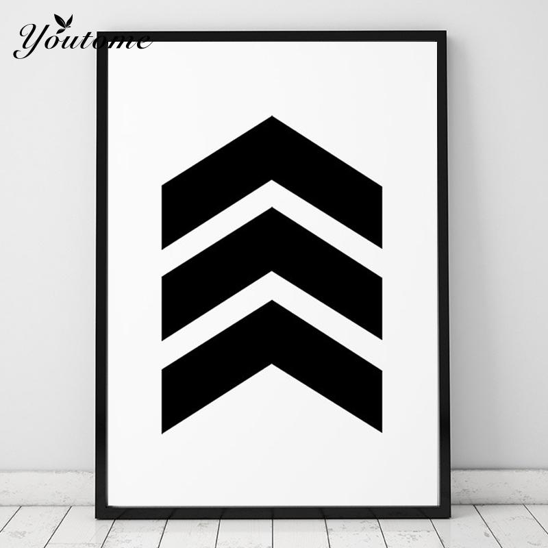Chevron Print Art poster inspirational wall home decor gift idea graphic geometric black and white poster Frame not include
