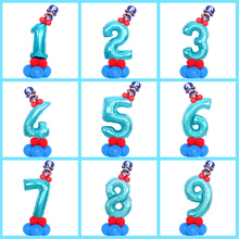 16pcs/set kids Birthday Column Balloon 32inch blue Captain America Numbers Foil Baloons Baby Shower Decoration party Supplies