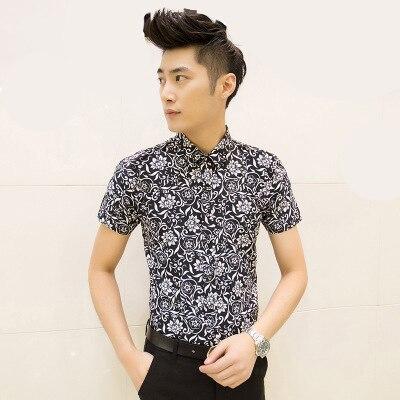 새로운 여름 패션 레저 여름 꽃 셔츠 크기 슬림 망 셔츠