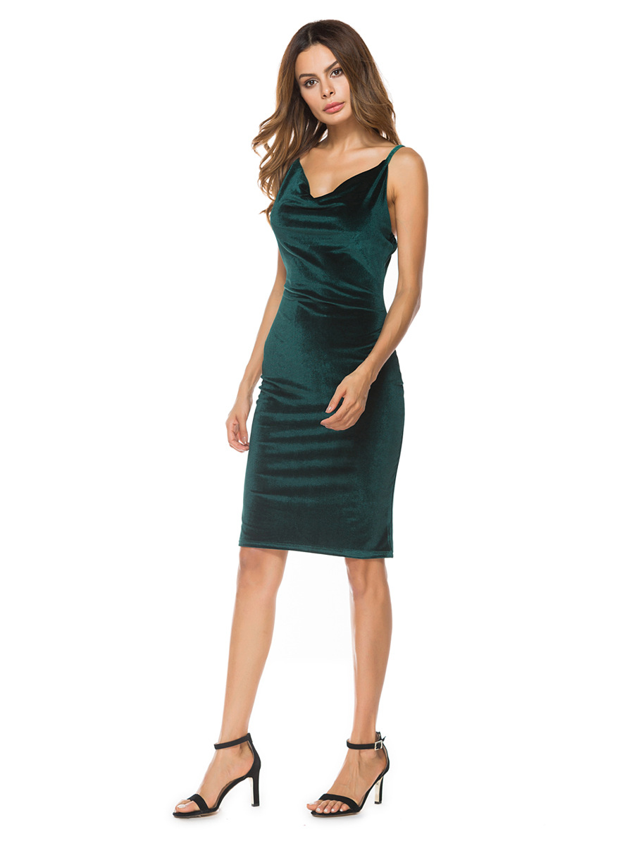 Fashion Velvet Women Dress Sexy Elegant Spaghetti Strap Dresses Female Bodycon Frocks