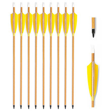 Wood Grained Carbon Fiber Arrows Spine 400/500/600 Shaft 4 Inch Feather For Hunting Bow 29/30/31 Arrow 6PK
