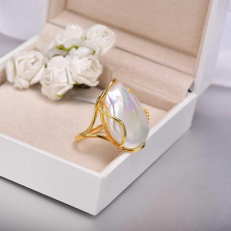 [YS] 925 แหวนเงิน 20-28 มม. ขนาด Baroque Pearl แหวน