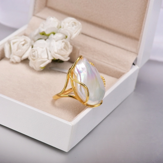 [YS] 925 Silver Ring 20-28mm Big Size Baroque Irregular Pearl Ring