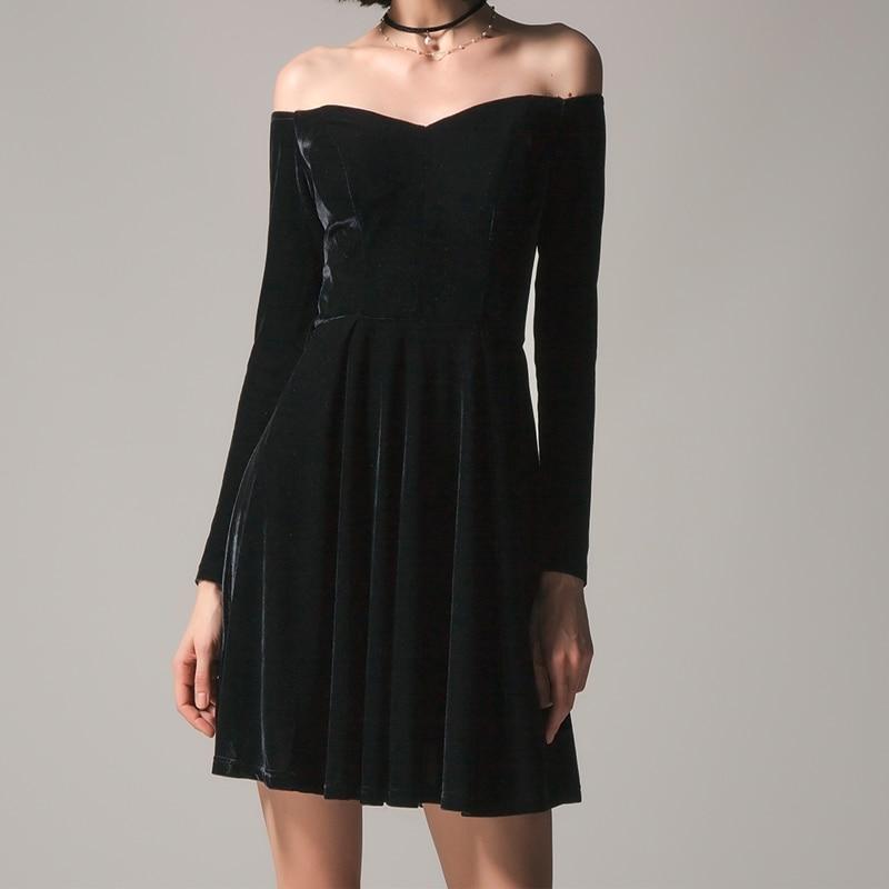 Для женщин пикантные с открытыми плечами мини платье 2019 Женский длинным рукавом бархатная туника рубашка платья для повседневное Элегантн