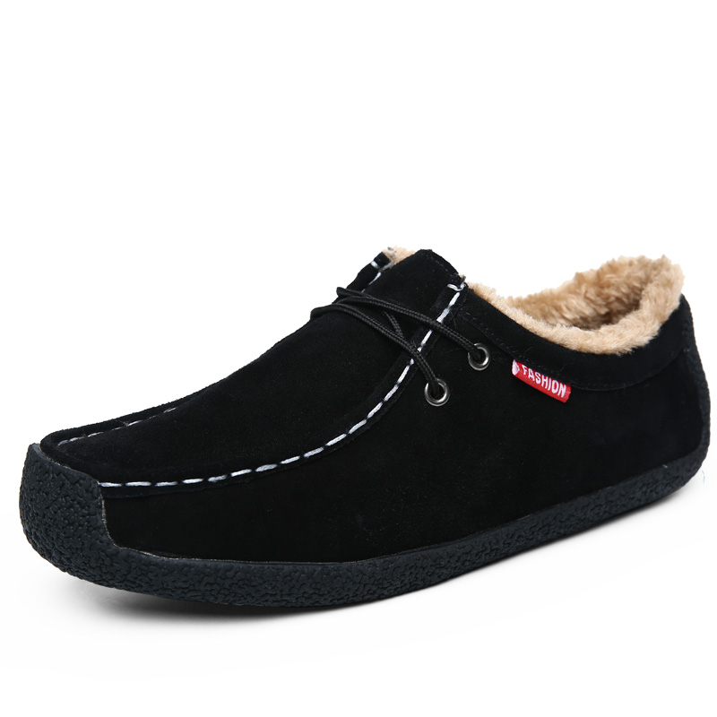 QASDUO Fashion Winter Warm Men Fur Shoes Comfort   Suede     Leather   Shoes Man Plush Casual Sneakers Soft Loafers Plus Size 51