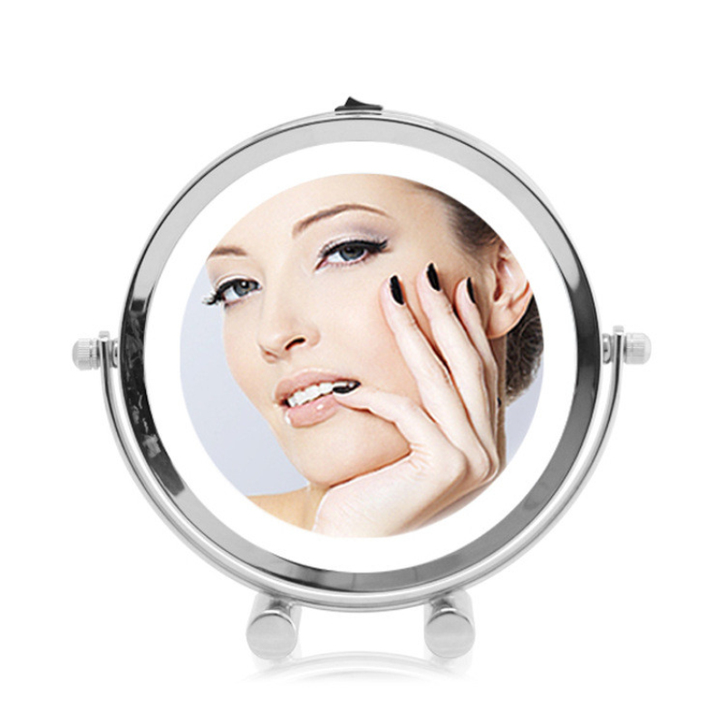 7 inch fashion high-definition with LED desktop makeup mirror 2-Face princess dressing mirror 5X magnifying bedroom decoration 8 inch fashion high definition desktop makeup mirror 2 face metal bathroom mirror magnifying 360 degree rotating mirror