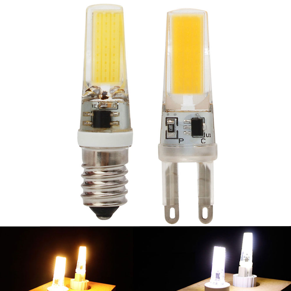 Mini LED COB G9 E14 Dimmable 6W 9W LED Lights Silicone Crystal Lamps Cool/Warm White Bulb Crystal Chandeliers Replace Halogen