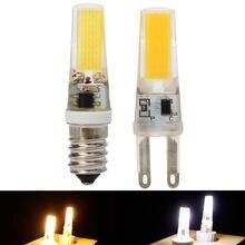 Mini led cob g9 e14 pode ser escurecido 6w 9 luzes led lâmpadas de cristal silicone legal/quente branco lâmpada lustres de cristal substituir halogênio