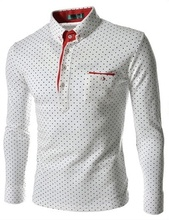 ZOGAA Hot Sale Men England Trendy Wave Point Self-Cultivation Long Sleeved Tide Shirts Top