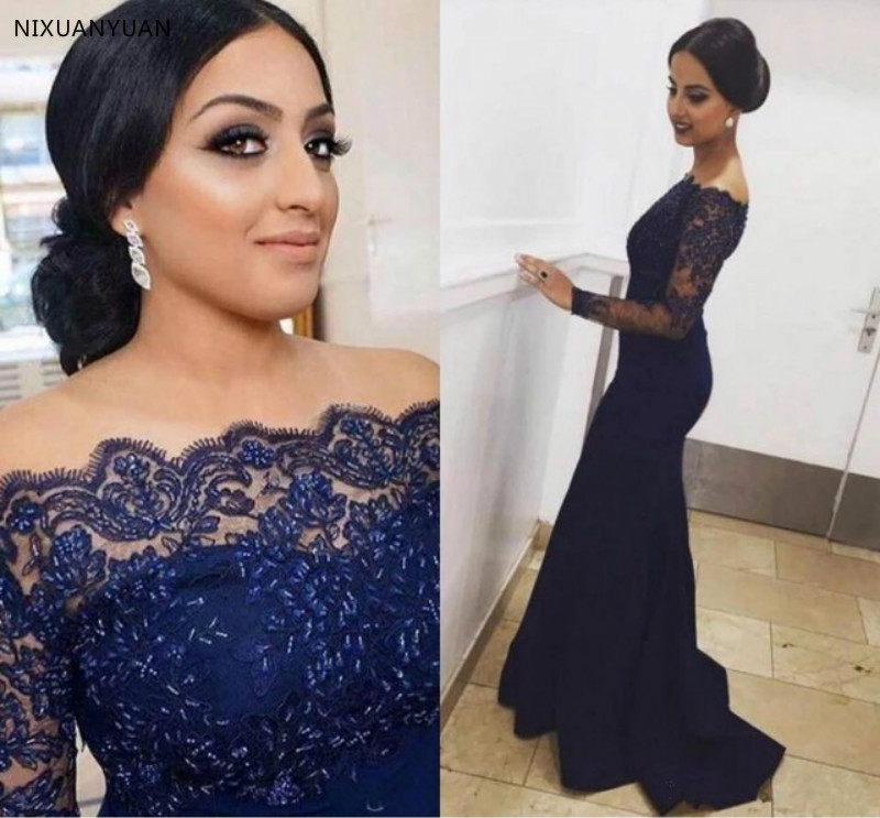 Sexy Lace Long Sleeves Off The Shoulder Mermaid Evening Dress 2020 Formal Navy Blue Mother Of The Bride Dress Custom Made