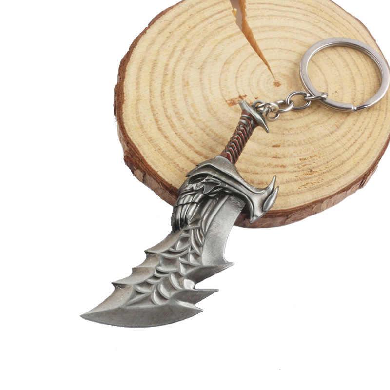 2019 estilo deus da guerra 4 3d kratos machado faca armas chaveiros pingentes vingadores martelo máscara chaveiro masculino lembrança carro gif