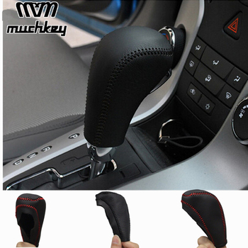 цена на For Chevrolet Cruze 2009 2010 2011 2012 2013 2014 Genuine Leather Gear Shift Knob Cover Automatic AT Transmission car styling