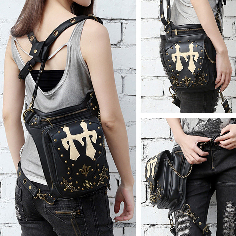 Punk Gothic tassel rivet Belt Bag Waist bag Hip hop shoulder Pouch Rock Purse Handbag Cool Cosplay Gift universal waist belt bag pouch outdoor tactical holster military molle hip purse phone case