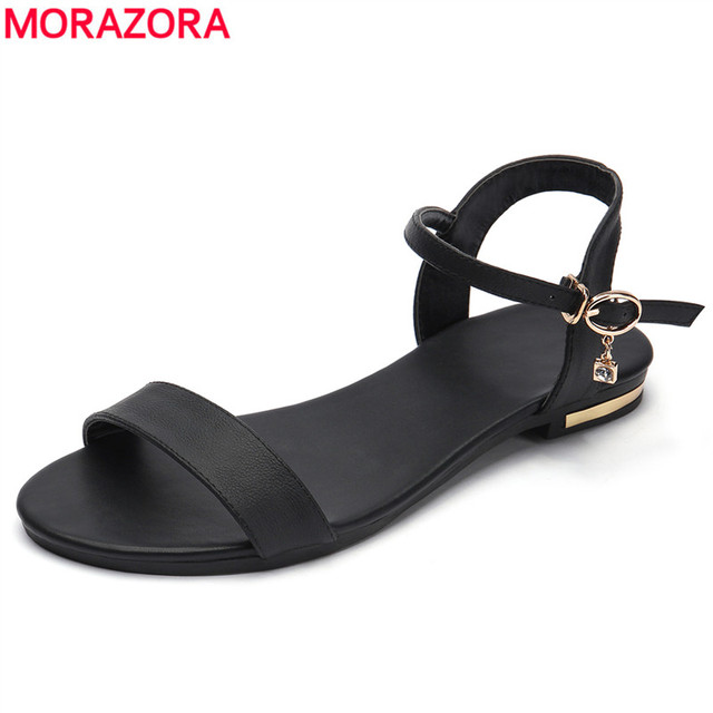 MORAZORA/Большие размеры 34-46, новые сандалии из натуральной кожи женская обувь модные сандалии на плоской подошве Летняя женская обувь со стразами из коровьей кожи