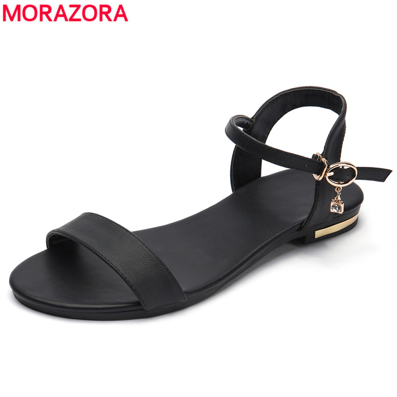 MORAZORA Plus size 34-46 New genuine leather sandals women shoes fashion flat sandals cow leather summer rhinestone ladies shoes aiyuqi 2018 spring new genuine leather women s sandals casual flat sandals women plus size 41 42 43 ladies sandals shoes women