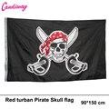 Hot 90*150 cm lenço vermelho Poliéster Bandeira Do Crânio Do Pirata Bandeira do Vôo de Alta Qualidade decoração de Casa