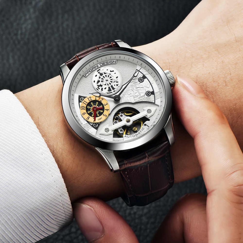 2019 高級ブランドパガーニ新ファッション革トゥールビヨン腕時計自動メンズ腕時計男性機械式鋼腕時計レロジオ Masculino