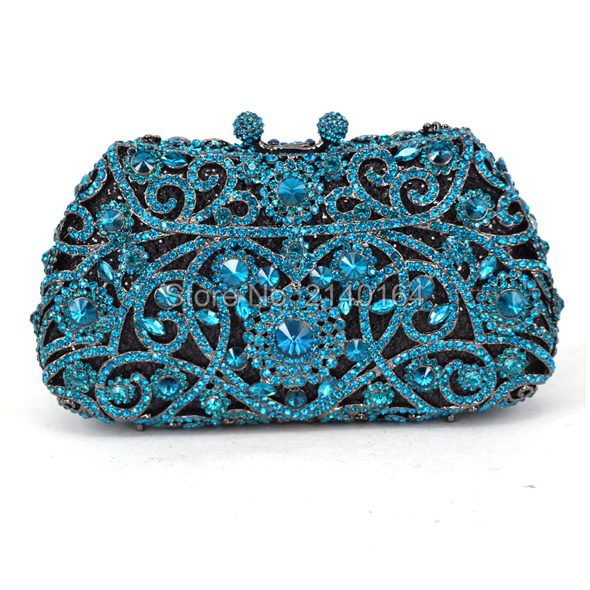 Fashion Women aquamarine Plating Flower Hollow Out Crystal Evening Metal Clutches Small Minaudiere Handbag Wedding Clutch (529) мыло венеция 250г nesti dante мыло венеция 250г page 6