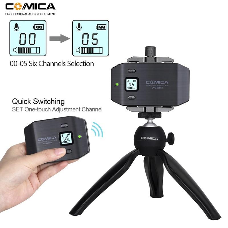 Image 2 - Micrófono inalámbrico para teléfono inteligente Comica CVM WS50 (C) 6 canales micrófono solapa Lavalier para iPhone Samsung Huawei teléfono Androidmicrófonos   -