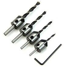 4pcs HSS 5 Flute Countersink Drill Bit Set 3mm-6mm High Speed Steel Chamfer Reamer Woodworking DIY Power Tools