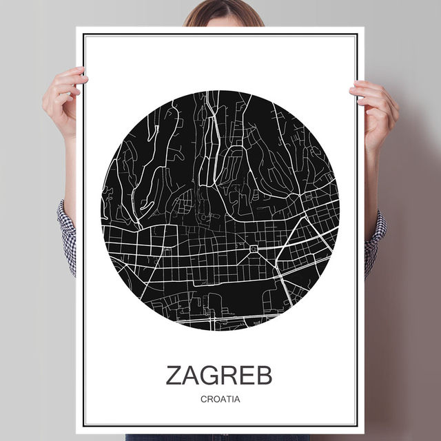 Online shop hot sale zagreb modern poster world map city abstract hot sale zagreb modern poster world map city abstract print picture oil painting canvas coated paper cafe bar living room decor gumiabroncs Images
