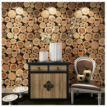 Chinese wood grain pile nature 3D personality retro stump wallpaper porch cafe restaurant decoration background