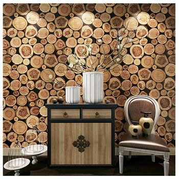 Chinese wood grain pile nature wood 3D personality retro stump wallpaper porch cafe restaurant decoration background wallpaper