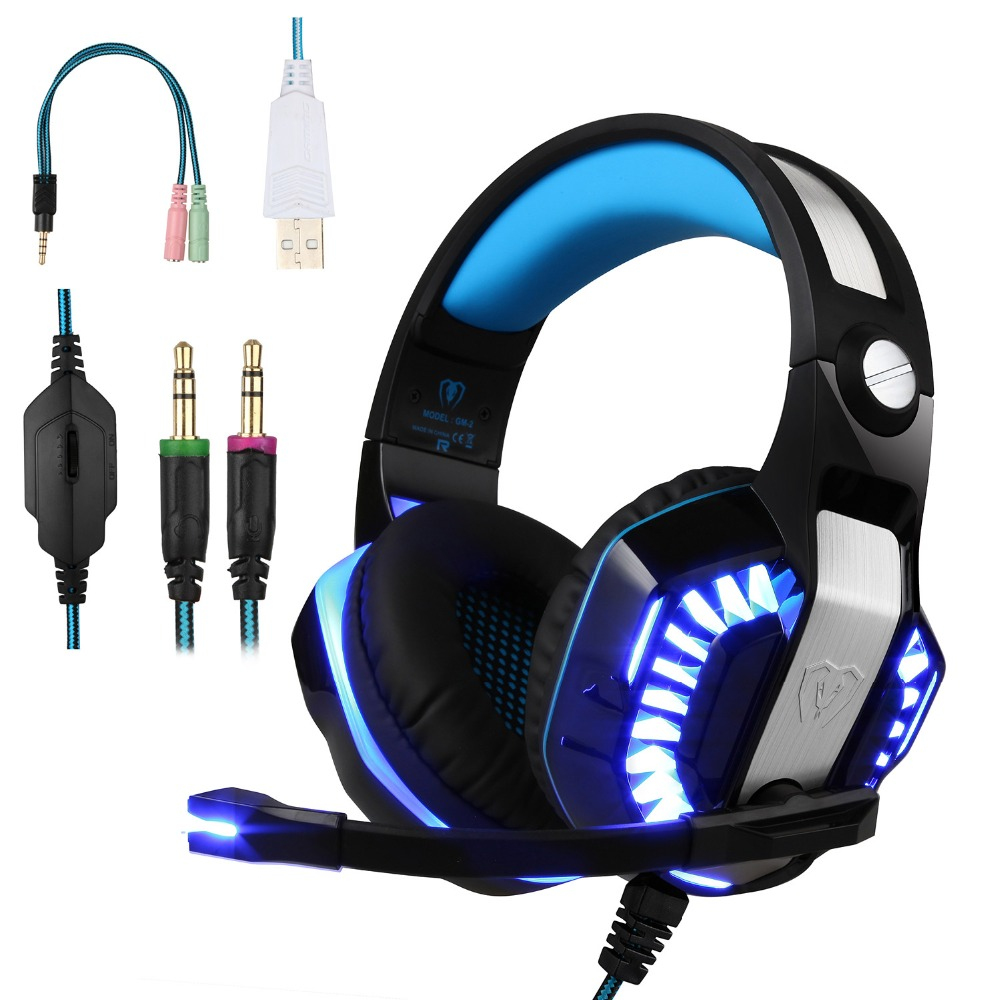 купить Gaming Stereo Surrounded Headphones with Microphone and Volume Control Foldable Headset with LED Light for Mobile phone/ PC/ PS4 недорого