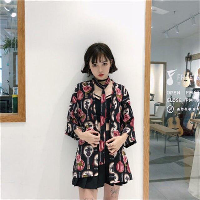 Harajuku Style  Kimono Japanese Old-fashioned Street Loose Shirts Women 2018 Summer Korea Sun Protection Vacation Clothing 3