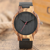 Creative Quartz Mens Women New Arrival Bamboo Nature Wood Wrist Watch Genuine Leather Band Strap Casual