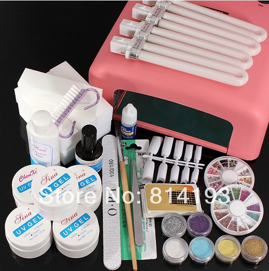 Pro New 36W Nail Art Tips UV Gel Lamp Bulbs Nails Dryer Glitter Polish Manicure Curing Kit Set btt 116 free shipping pro 36w uv dryer acrylic nail art set acrylic nail kit kit nail gel kit gel nails set with lamp
