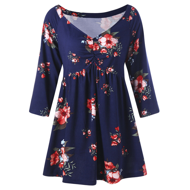 Charmam 2017 Plus Size 5XL Sexy Floral Print Tunic T-shirt Women Spring Autumn Oversized T Shirt V Neck Loose Tops Tees Big Size