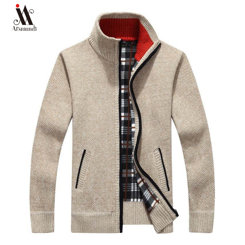 2019New Men's Sweaters Autumn Winter Warm Thick Velvet Sweater Jackets Cardigan Coats Male Clothing Casual Knitwear US Size 3XL