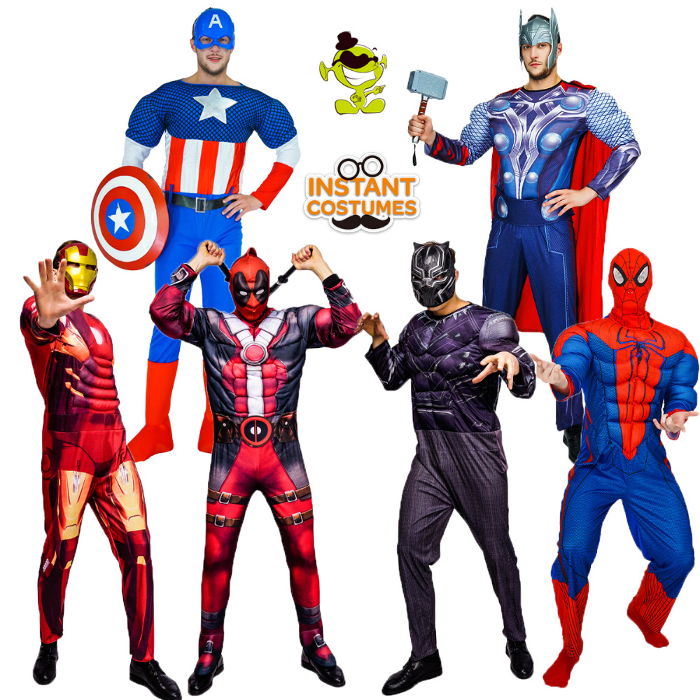 Halloween Party Cosplay Superhero Costumes Role Play Thor/American Captain/Deadpool /Black Panther /Iron Costumes Heroes