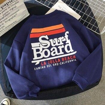 2018 Autumn Winter Women Sweatshirts Plus Velvet Long-sleeved Korean Sweatshirt Loose Tide Surf Board Print Pullover Sweatshirts 1