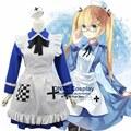 Anime Hetalia Axis Powers REINO UNIDO Rosa Kirkland APH Cosplay Disfraces Mujeres Fancy Trajes Lolita Maid Vestido Azul para Halloween